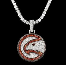 2 ct Round Garnet  Sim Diamond Men's Atlanta Hawks Pendant 1