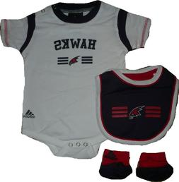 Atlanta Hawks 3pc Creeper Bib Booties Bodysuit Set Infant Ba