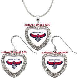 Atlanta Hawks 925 Necklace / Earrings or Set Team Heart With