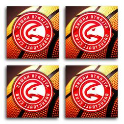 atlanta hawks basketball rubber square coaster set