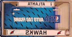 Atlanta Hawks Chrome Metal License Plate Tag Frame Cover NBA