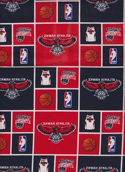 "Atlanta Hawks NBA Basketball 45""100% Cotton Fabric-$6.99/yar"