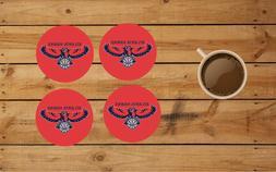 atlanta hawks round coaster set of 4