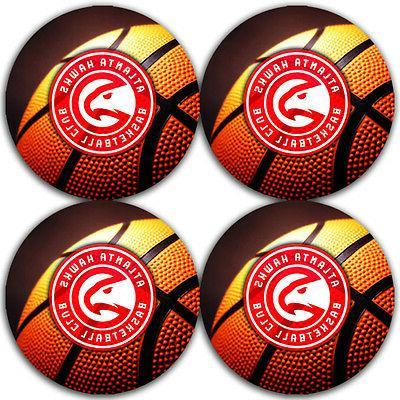 atlanta hawks basketball rubber round coaster set