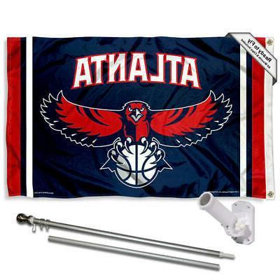atlanta hawks flag pole and bracket kit