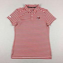 Atlanta Hawks Nike Polo Shirt Women's Red Stripe Poly New Me